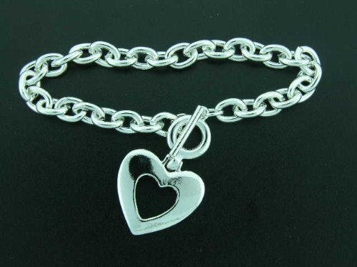 Toggle Style Silver Plated Charm Bracelet with Heart Pendants (Style of Heart may vary). Beautiful and Trendy!