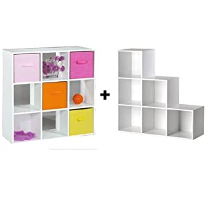 Cubes de rangement 9 cases meuble escalier for Meuble 6 cases blanc