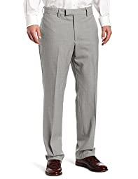 Louis Raphael Men\'s Luxe 100 Percent Wool Solid-Colored Modern-Fit Flat-Front Dress Pant, Light Grey, 30x30