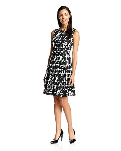 Ellen Tracy Printed Scuba Fit-and-Flare Dress