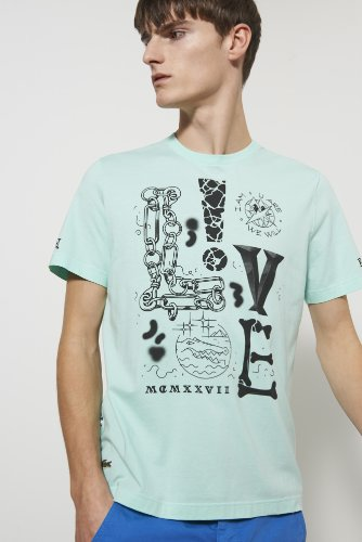 L!ve Short Sleeve Cotton Jersey Mixed Media Graphic T-shirt