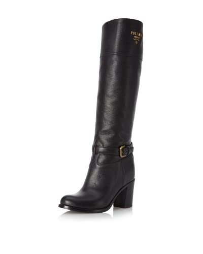 Prada Women's Knee-High Buckle Boot  - Black