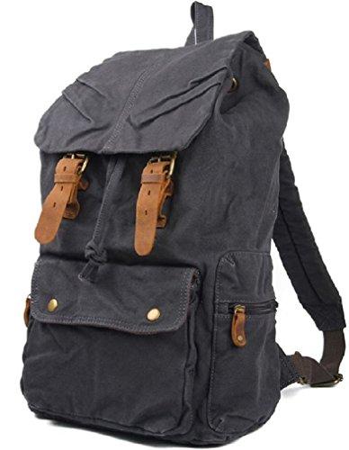 AM Landen®BLACK Multipurpose Rucksack Canvas Backpack(Stone-Wash Black)