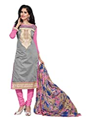 Women's Grey & Pink Embroidered Chanderi Semi Stitched Salwar Suit