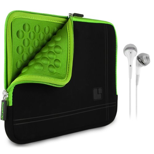 Sumaclife Padded Sleeve - Pro Microsuede Quilted Cover Green Black For Amazon Kindle 8.9 Hd / Fire Hdx + White Hands-Free Headphones W/ Microphone