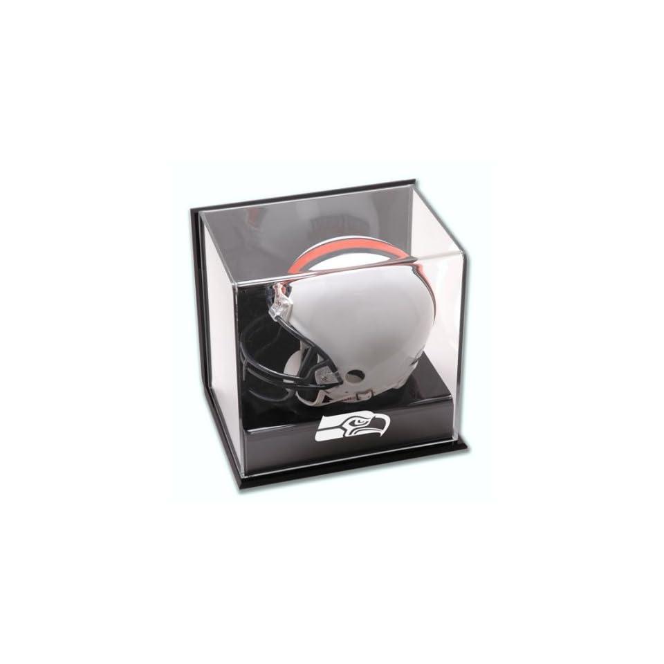 Seattle Seahawks Wall Mini Helmet Cube Logo Display Case   Mounted Memories Certified   Acrylic Mini Helmet Display Cases