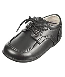 Josmo Boys Infant/Toddler Lace Up Oxford Shoes First Walker, Black, 8 M US Toddler