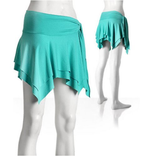 Buy Diab'less turquoise stretch viscose handkerchief mini skirt with tie waist