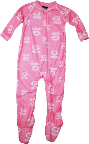 Green Bay Packers Infant Girls Pink Full Zip Sleeper, Pink, 12 Months at Amazon.com