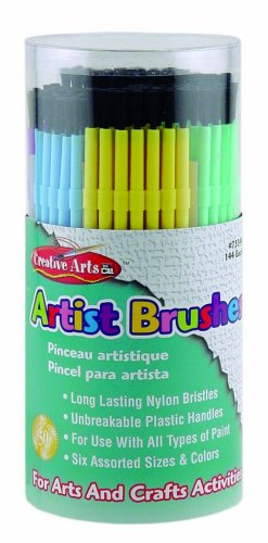 Charles Leonard Inc. Artist Plastic Brushes, Assorted Colors, 144 Tub (73344)