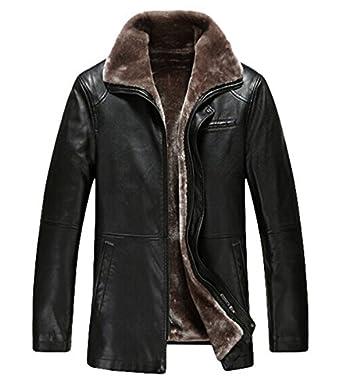 PENER Men's Winter plus thick velvet PU leather jacket