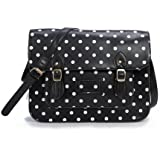 "Large YASMIN BAGS 13.5"" Vintage Polka Dot Spotty Satchel/Cross Body Bag with FREE YASMIN BAGS trolley/locker coin keychain"