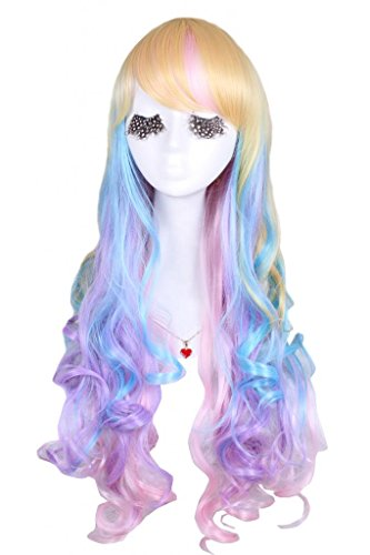 Nuoqi 70cm long rainbow color wave costumes full hair wig