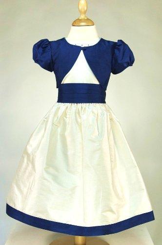 Flower Girl Dress (100% silk) and jacket 'Highland Meadow' Blue