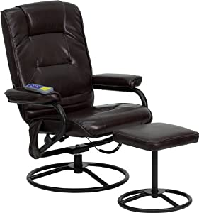 Flash Furniture BT-703-MASS-BN-GG Massaging Brown Leather Recliner/Ottoman with Metal Bases
