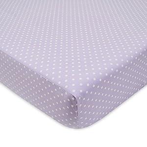 American Baby Company Percale Crib Sheet, Lavender Dots