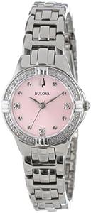 Bulova Ladies' Stainless-Steel, Diamond, Pink Dial 96R171