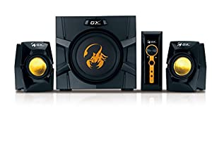 Genius GX Gaming SW-G2.1 3000 - 70W 2.1 Channel Gaming Speaker System, Wooden Cabinet Subwoofer with Heart-Beating Bass