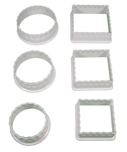 Lot of 6 Plastic Cookie Cutters Circle & Square Shapes