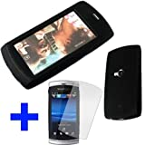 Phonedirectonline- Black Silicone Skin Case cover for Sony Ericsson vivaz U5 with Screen protectorby G5 Online