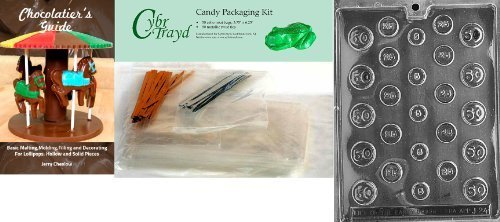 Cybrtrayd-Coins-Jobs-Chocolate-Candy-Mold-with-Chocolatiers-Bundle-Includes-50-Cello-Bags-25-Gold-and-25-Silver-Twist-Ties-and-Chocolatiers-Guide-by-CybrTrayd
