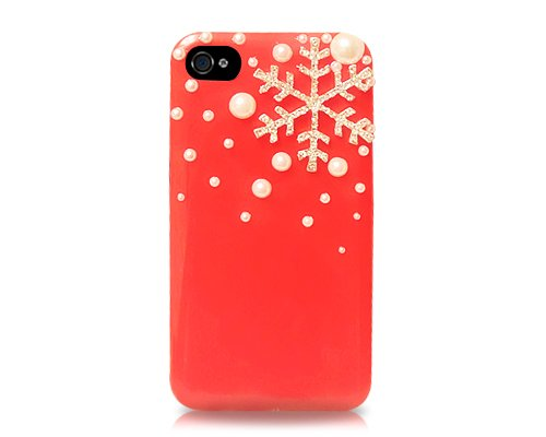 3D Snowflake Series iPhone 4 and 4S Cases - Red