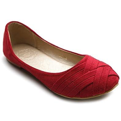 Ollio Women's Ballet Shoe Cute Casual Comfort Flat (5.5, Red)