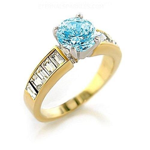 Jewelry - Sea Blue CZ Gold Tone Ring SZ 5
