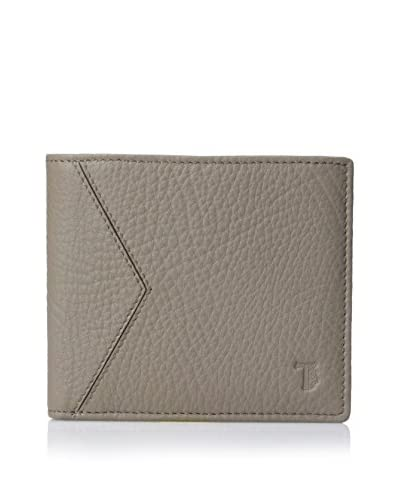 TOD'S Men's Hammered Leather Bi-Fold Wallet, Taupe, One Size