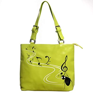 New Woman's Lime Green With Black Ants and Music Notes Adjustable Strap Purse By Shagwear