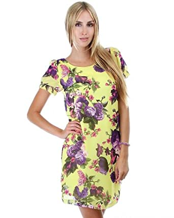 G2 Chic Women's Floral Chiffon Short Sleeve Dress with Tie Up Back Detail(DRS-CAS,YEL-S)