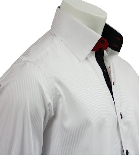 New Italian Design Button Down Men Formal Casual Shirts White Strips Slim Fit