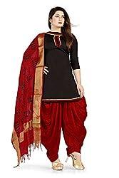 Bhagwati Women's Cotton Unstitched Dress Material (Sultan1004_Black_Freesize)
