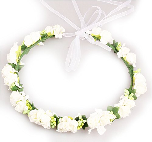 Geoot Flower Wreath Headband Floral Crown Garland Halo for Wedding Festivals (white)