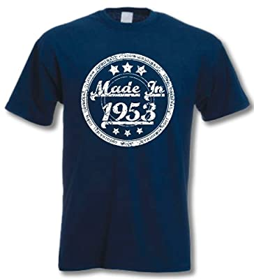 My Generation Gifts - Made In 1953 - 60th Birthday Gift / Present T-Shirt Mens Navy LFrom My Generation Gifts blog.