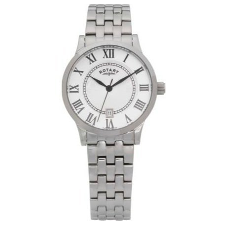 Rotary Men's Roman Numeral Bracelet Watch With Self Adjustable Links