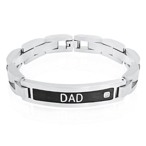 Bling Jewelry Mens Solitaire CZ Dad Stainless Steel ID Bracelet 8.5in