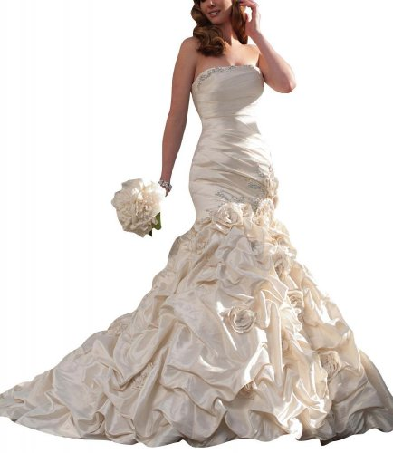 GEORGE BRIDE Strapless Mermaid Taffeta Chapel Train Wedding Dress Size 8 Ivory