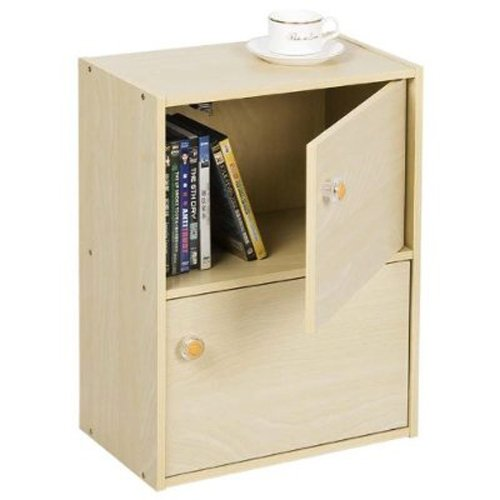 Furinno 11201SBE Pasir 2 Tier Bookcase with 2 Door/Round Handle, Steam Beech