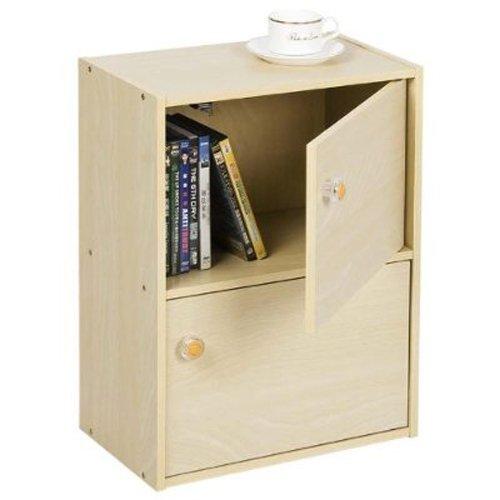Furinno 11201SBE Pasir 2 Tier Bookcase with 2 Door/Round Handle, Steam Beech Light Oak 2 Door Cabinet