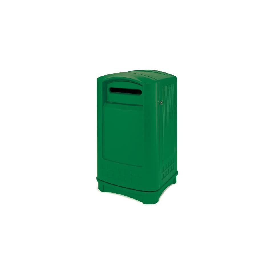 Rubbermaid 3969 Plaza Paper Recycling Container   Green (FG396900DGRN)   Office Waste Bins