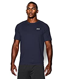 Men\'s UA TechTM Shortsleeve T-Shirt Tops by Under Armour (Midnight Navy/white, Large)