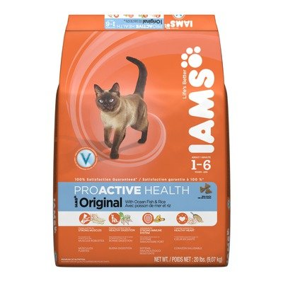 Image of Iams Proactive Health Adult Original Ocean Fish with Rice Dry Cat Food, 20-lb