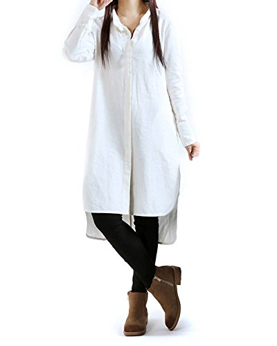 ZANZEA Women's Stand Collar Buttons Cotton Split Hem Long Top Dress White UK 18