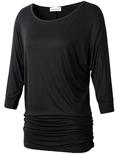 Lanmo Womens Dolman Sleeves Drape Tops Solid Side Shirring Jersey Tee(M, Black) (Yoga Tops With Sleeves compare prices)
