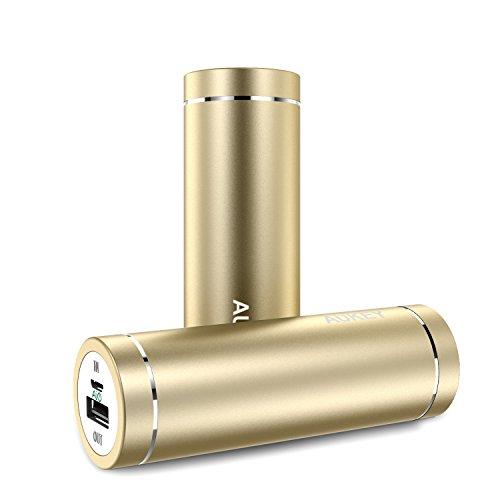 [改善版]Aukey モバイルバッテリー AIPower 小型 5000mAh スマホ充電器 急速充電対応 PB-N37 (ゴールド)