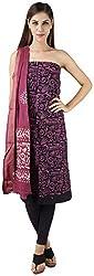 Bee Gee Boutique Women's Cotton Unstitched Dress Materials (BG-58, Purple & Black)