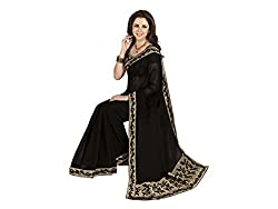 Shopeezo Daily Wear Black Colored Printed Saree/Sari