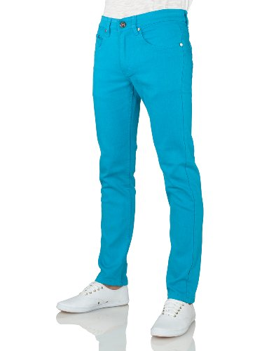 IDARBI Mens Casual Skinny Cotton Twill Pants TURQUOISE 32/30 (Turquoise Pants compare prices)