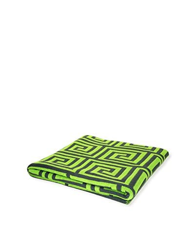 PÜR Cashmere Jacquard Greek Key Pattern Throw, Grass Green